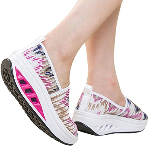 vermers Women Shoes Clearance - Casual Fitness Sport Shoes - Ladies Mesh Shake Shoes Platform Sneaker(US:7.5, Hot Pink)