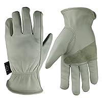 KIM YUAN Leather Work Gloves for Gardening/Cutting/Construction/Motorcycle, Men & Women M L XL