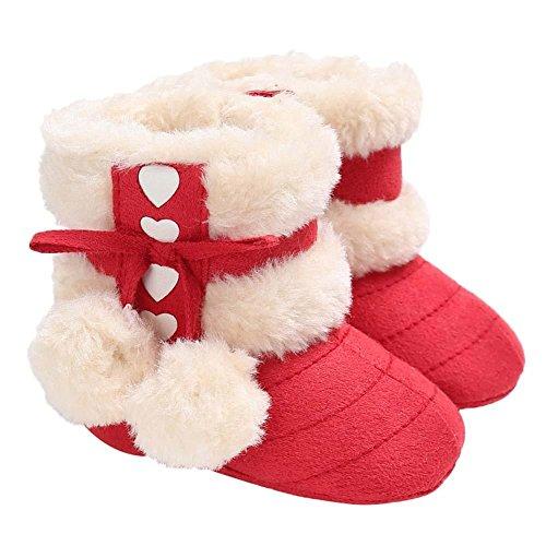 Domybest Baby Mädchen Winter Schnee Stiefel Bowknot Fleece Soft Bottom Warme Schuhe Rot