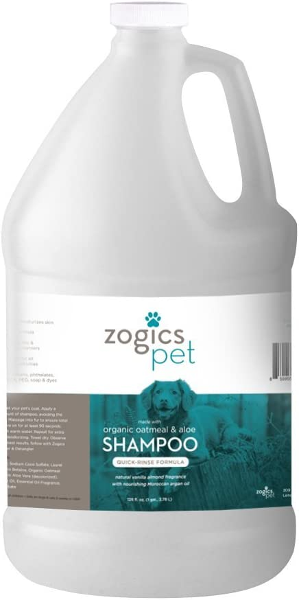 Zogics Pet Dog Shampoo with Organic Oatmeal, Aloe and Argan Oil - Hypoallergenic Formula Soothes Dry, Itchy Skin - 1 Gallon