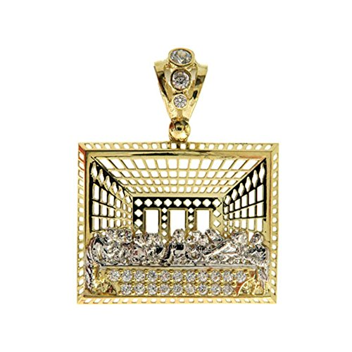 "Genuine 10K Yellow Gold CZ 1.75"" Inch Large The Last Supper Pendant Rectangle Hip Hop Style Charm by Traxnyc"