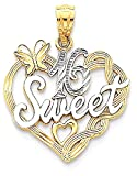 IceCarats 14k Yellow Gold Rhodium Sweet 16 Necklace Pendant Charm
