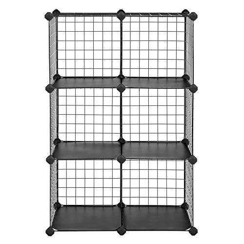 (SONGMICS Metal Wire Cube Storage,6-Cube Shelves Organizer,Stackable Storage Bins, Modular Bookcase, DIY Closet Cabinet Shelf, 24.8