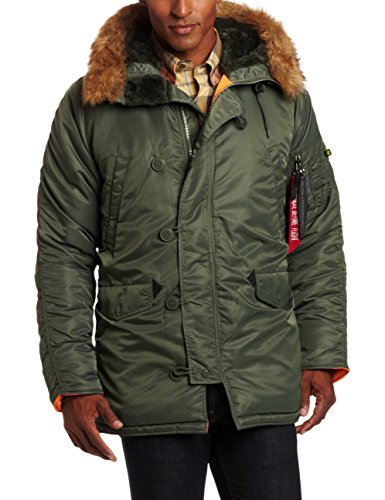 - Alpha Industries Men's N-3B Slim-Fit Parka Jacket with Removable Faux-Fur Hood Trim, Sage/Orange, XX-Large