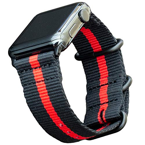 """Carterjett Extra Large Thin Red Line Nylon Compatible with Apple Watch Band 44mm 42mm XL 8-10.5"""" Wrists Very Long Military Replacement iWatch Band Series 5 4 3 2 1 Sport (42 44 XXL Thin Red Line)"""