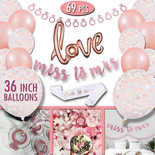Bachelorette Party Decorations Supplies - Rose Gold Bridal Shower Set - Classy Bride to Be Sash - Pink Wall Banner Decoration - Miss to Mrs Decor - Rose Gold Confetti Balloons 36inch - Love Balloon for $<!--$22.99-->