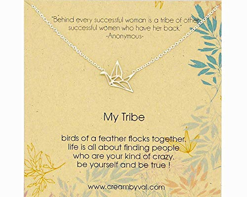 (My Tribe Origami Bird Sterling Silver Necklace - 17'' Length)