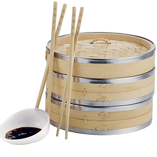 VonShef 10 Inch 2 Tier Premium Bamboo Steamer with Stainless Steel Banding - includes 2 Pairs of Chopsticks & 50 Wax Steamer Liners