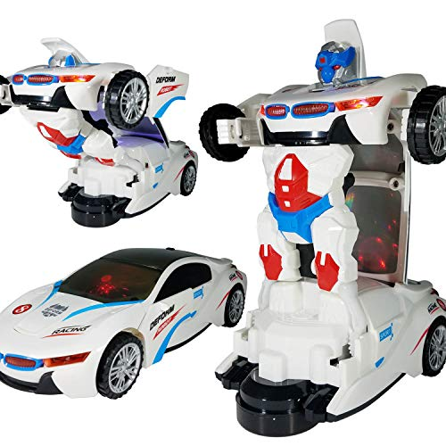 ANJ Kids Toys - Battery Operated Bump and Go Transforming Toys for Kids -Auto Transforming Auto Robots Action Figure and Toy Vehicles - Realistic Engine Sounds & Beautiful Flash Lights (White)