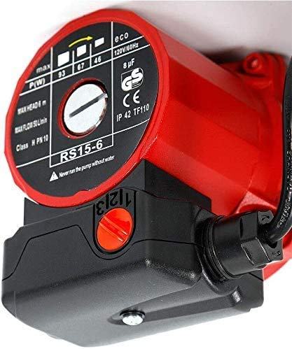 Floor Heating Domestic Horsepower Circulator Pump 3 Speed NPT 3//4 Hot Water Recirculating Pump 60Hz IP42 3.2ft with 1M Length of Cable Heater System for Hydronic Radiant Heating