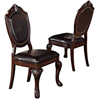 Poundex Side Chair in Faux Leather, Set of 2