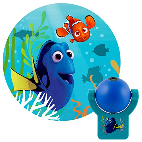 (Projectables 34221 Finding Dory LED Plug-In Night Light, Blue and Teal, Light Sensing, Auto On/Off, Projects Disney Pixar Characters Dory and Nemo Image on Ceiling, Wall, or)