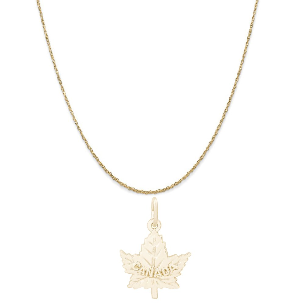 Rembrandt Charms 10K Yellow Gold Canadian Maple Leaf Charm on a Rope Chain Necklace, 18''