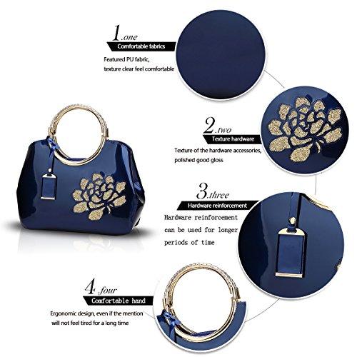 Mode Cuir Mode Coquille Sac Femme Verni Diagonale Brillant Unique Sdinaz en en Bleu Nouveau bandoulière Portefeuille Main à Relief 2018 été Sac tqw7IAP