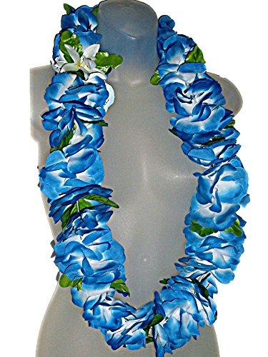Hawaiian Plumeria Leis - Deluxe Hawaiian Blue Plumeria Flowers Floral Silk 42