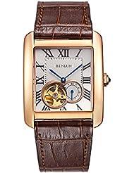 Binlun Mens Rectangle Shape Gold-Plating Business Mechanical Self-Winding Watch Brown Leather Band