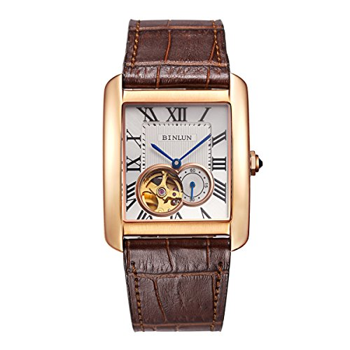 Binlun Men's Rectangle Shape Gold-Plating Business Mechanical Self-Winding Watch Brown Leather Band by BINLUN