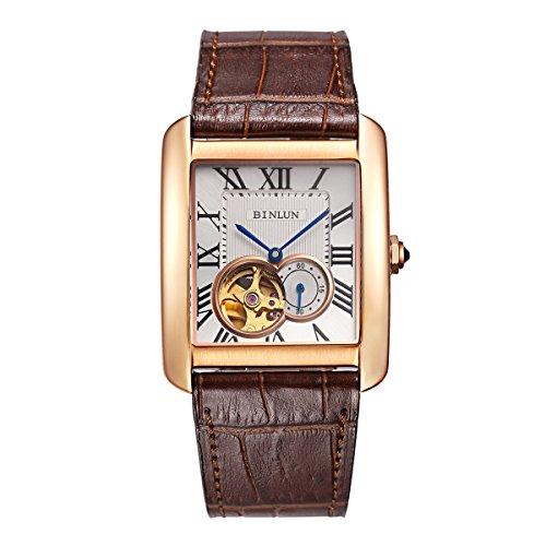 Binlun Men's Rectangle Shape Gold-Plating Business Mechanical Self-Winding Watch Brown Leather - Shape Face Men Rectangle