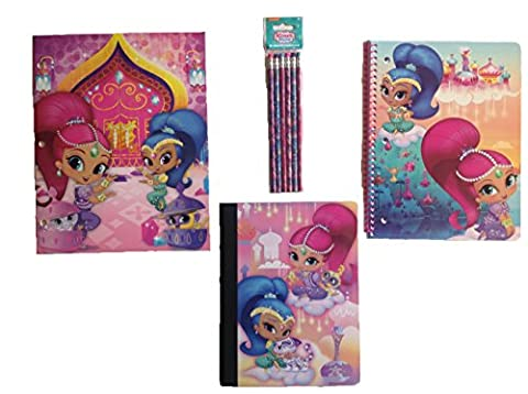 Shimmer and Shine Genies School Supply 4 Pc Set - Two Pocket Folder, Spiral Notebook, Composition Notebook, and Pack of - Shimmer Spiral