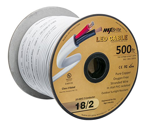 Wire 500' Spool - 18AWG 500 Feet Low Voltage LED Cable, 2 Conductor, Outdoor Rated, Jacketed In-Wall Speaker Wire UL/cUL Class 2, Sunlight Resistant