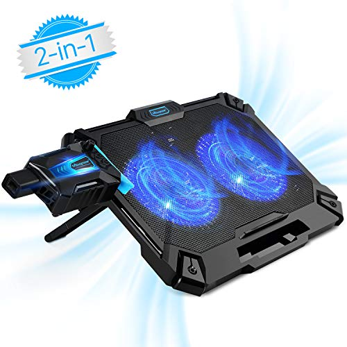Laptop Cooling Pad 17.3 Inch Gaming, Mbuynow 2 in 1 Mini Vacuum USB Air Cooling Fan, Dual Combination with Intelligent Temperature-Control, Silencer, 8 Level Adjustable Height Stand and Phone Holder by Mbuynow