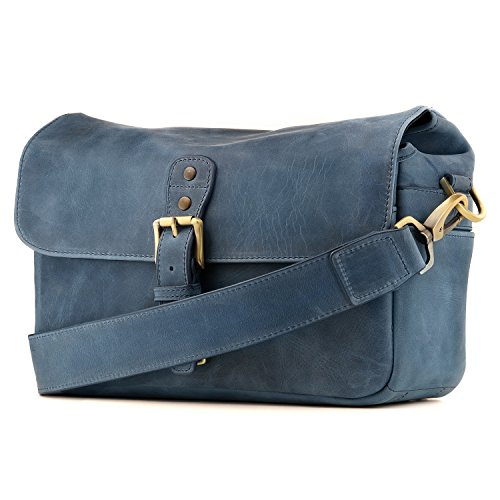 MegaGear Genuine Leather Camera Messenger Bag for Mirrorless, Instant and DSLR, Blue (MG1333)