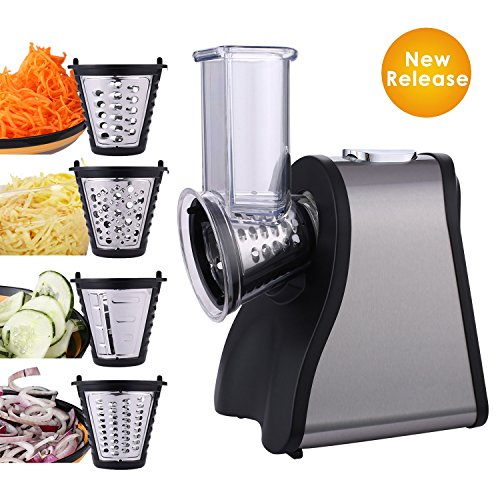 Kemanner Professional Salad Maker 200W Electric Food Slicer Shredder with 4 Blades for Fruits, Vegetables, and Cheeses – One Touch Button for Easy Slicer