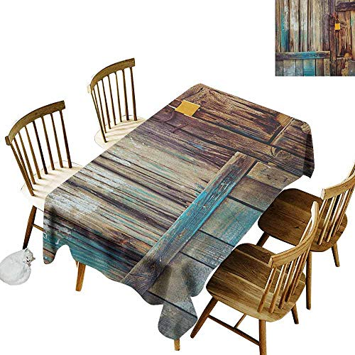 - DONEECKL Rustic Colorful Tablecloth Protection Table Aged Shed Door Backdrop with Color Details Country Living Exterior Pastoral Mansion Image Brown W60 xL120