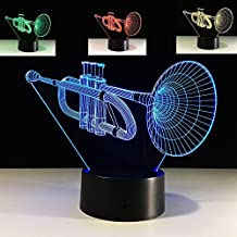 3D Horn Trombone Night Light 7 Color Change LED Table Desk Lamp Acrylic Flat ABS Base USB Charger Home Decoration Toy Brithday Xmas Kid Children Gift