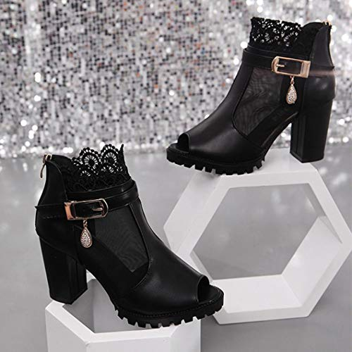 Rough Women High with Boots Ladies Metal Autumn Fish Breathable Shoes Heeled FALAIDUO Black Zipper Spring Buckle Sandal Lace Mouth zqw8PWHdv