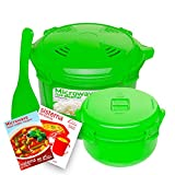 Sistema Microwave Cookware Rice Steamer Set with Lids — Large Microwave Multicooker, Side Dish Bowl, Spoon and Recipes (BPA Free, 100% Food Safe) (Green Set) Review