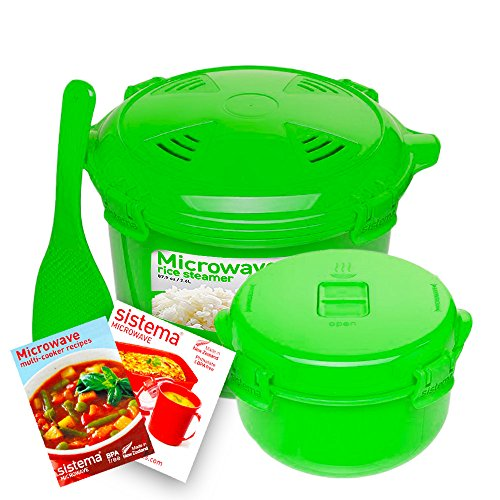 Sistema Microwave Cookware Rice Steamer Set with Lids -- Large Microwave Multicooker, Side Dish Bowl, Spoon and Recipes (BPA Free, 100% Food Safe) (Green Set)