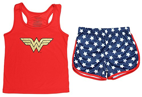 Wonder Woman Big Girls' Wonder Woman Sporty Mesh Pajama Short Set, Red, -