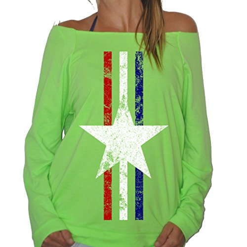 New Womens Frosty Tees Military Star Red White & Blue Stripes Right Wing Terry Fleece Sweatshirt Heather Neon Green M