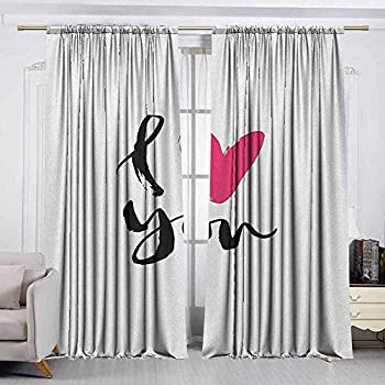 Image of AndyTours Outdoor Curtains,Love,Waterproof Patio Door Panel,W120x96L Inches Black Hot Pink White