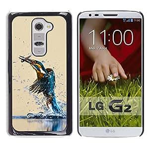 EJOY---Cubierta de la caja de protección la piel dura para el / LG G2 / --Pájaro del martín pescador y FISH