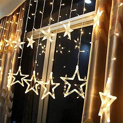 SAMTITY Luces de Hadas LED, Cortina de Luz LED, Luces de Navidad, 138 Cortinas de Luces LED de Cadena, Luces de Cadena LED de Copo de Nieve Largo, Decoraciones de Navidad, Blanco Cálido