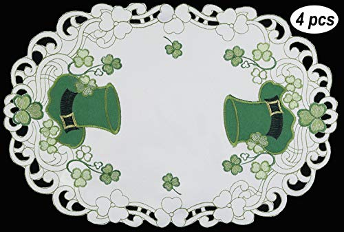 Creative Linens St. Patrick's Day Table Linens, Spring Embroidered Shamrocks and Leprechaun Hats Placemats, Table Runners, Tablecloths, White Green (11x17-4 Pieces - Patricks Cover Day Table
