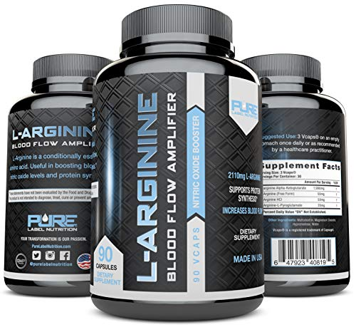 L-Arginine Pure-A 2110mg L Arginine Nitric Oxide Booster, Build Muscle Increase Strength – Best Purest Arginine Top Rated – Most Effective Dose for Men and Women – Made in USA 90 Capsules