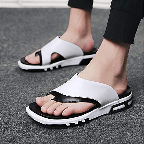 Cuero De para Pantuflas para Blanco Wangcui EU Aire Libre 42 3 Al 2 tamaño Negro Antideslizantes Deportes Hombres Color Zapatillas dqgdtI