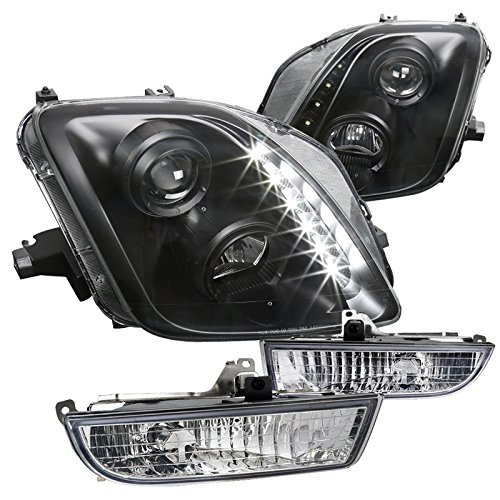 For Honda Prelude Black Projector Headlights w/LED + Clear Fog Lights w/ Switch
