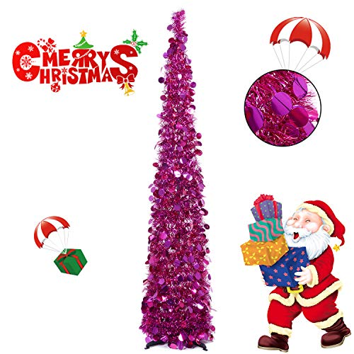 Collapsible Christmas Trees 5 Foot Artificial Tinsel Xmas Tree, Pop Up Multicolored Pencil Sequin Coastal for Holiday, Apartment, Party, Home, Office, Christmas Decorations, Fireplace-Rose Red (Christmas Rose Tree Red)