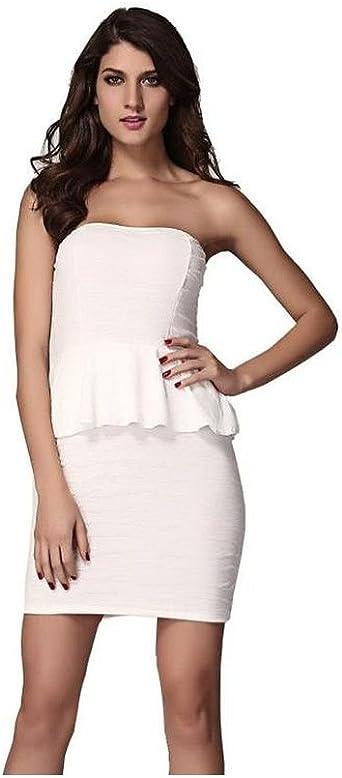Cfeminin Robe Peplum Blanche Blanc 36 40 Amazon Fr Vetements Et Accessoires