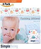 Simple Being Baby Teething Mittens (4-Pack, Blue), BPA Free Silicone Glove Teether for Babies, Breathable Adjustable Chew Mitt, Soothes Sore Gums, Sensory Stimulating, Machine Washable