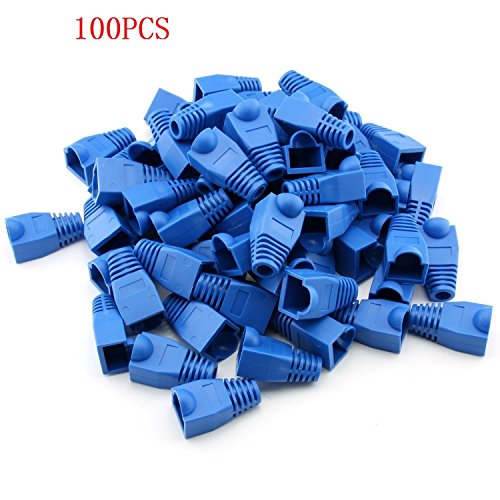 RilexAwhile 100 Pcs Blue Soft Plastic CAT5E CAT6 Ethernet RJ45 Cable Cap Connector Boots Plug Cover Strain Relief Boots (Blue)