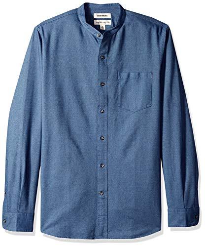 Goodthreads Men's Standard-Fit Long-Sleeve Band-Collar Oxford Shirt, -indigo, X-Large (Collar Shirt Band)