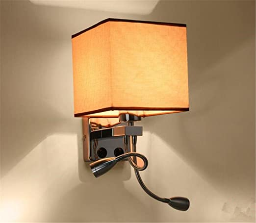 Wall Sconce Fixtures Lighting Simple Cloth Iron + Wall Lamp Bedroom Living  Room Study Wall Light
