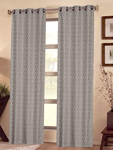 Modern Luxury with This Deluxe Blackout Curtain Set; 100-percent Polyester Fabric with Top Grommets, Sun Blocking, Thermal Insulated, Noise Reduction. Pair of 2 Panels, Gray (38 W X84 L - Curtains Pair Thermal Polyester Insulated