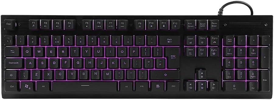 Yosooo Gaming Keyboard English Wired Gaming Keyboard 2KW Clicks Slim USB Backlit Keyboard for Game Office