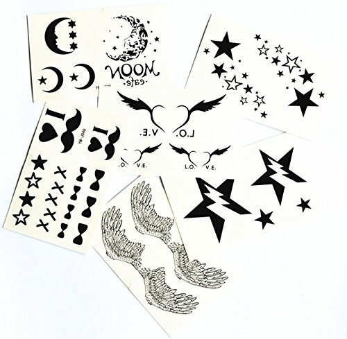 [mix design fake temp tattoos 6pcs in one package angel wings,stars,moons,hearts,I LOVE YOU,butterfly] (Fake Beards That Look Real)